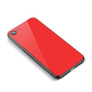 品胜(PISEN)苹果iPhone7/8手机壳/保护套 全包钢化玻璃背板软硅胶边框保护壳 红色