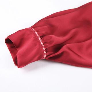 金三塔睡衣女真丝衣裤两件套家居服YSF8A204 枣红1803 M