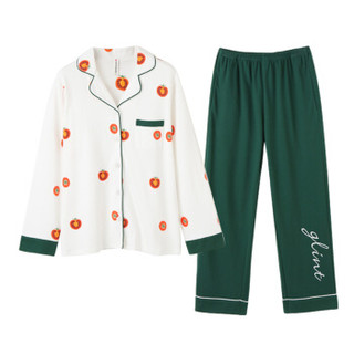 芬腾 家居服女酸甜番茄图案长袖翻领睡衣套装J989A31997 白色 XXL