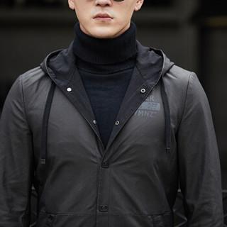 金盾(KIN DON)皮衣 男新款绵羊皮皮衣男士连帽中长款风衣外套 XH-8062 黑色 L