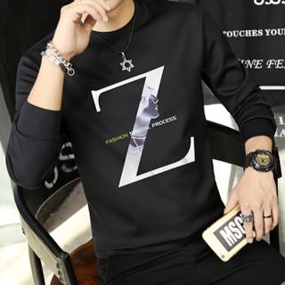 富贵鸟(FUGUINIAO)T恤男2018秋季新款韩版男士印花圆领卫衣潮套头打底衫男 黑色 L