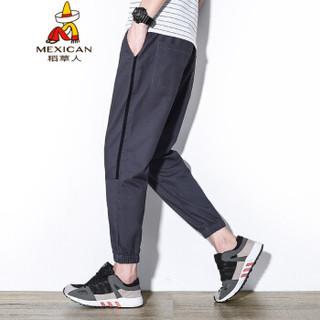 稻草人(MEXICAN)休闲裤男松紧系带收口小脚裤简约时尚男裤子 K55 灰色 2XL