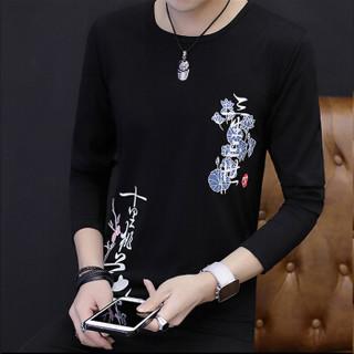 金盾(KIN DON)T恤 2019新款男士时尚休闲百搭印花圆领套头长袖T恤QT5013-T085黑色XL