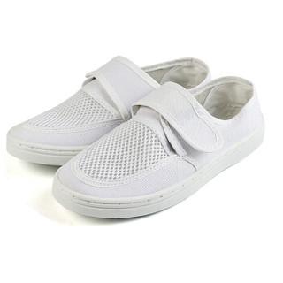 谋福 8057 防静电鞋防尘鞋网面工作鞋防尘鞋无尘鞋帆布透气舒适耐磨 白色网面款 39