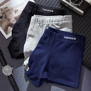 YUZHAOLIN 俞兆林 男士内裤男平角裤95%精梳棉中腰纯色短裤头 3条装 XXL 黑色/灰色/蓝色