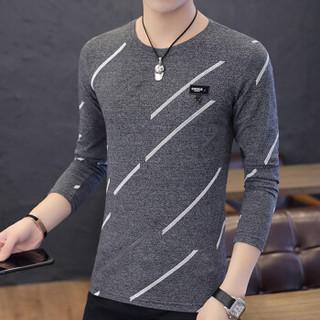 猫人(MiiOW)男士T恤时尚休闲百搭印花圆领套头长袖T恤D305-1-9834黑灰色XL