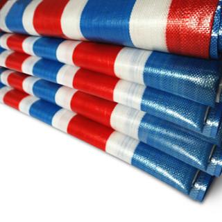 谋福 9301 加厚塑料布 扁丝彩条布 防水防雨布 聚乙烯材质 雨篷 防晒防霉防尘防风布 (宽约4米*10米)