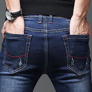 金盾(KIN DON)牛仔裤 2019新款男士青春休闲时尚百搭修身牛仔长裤QT1012-1018深蓝色30