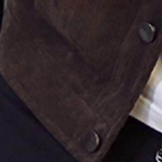 俞兆林(YUZHAOLIN)夹克 男士时尚翻领纯色灯芯绒夹克外套A003-919深棕色2XL