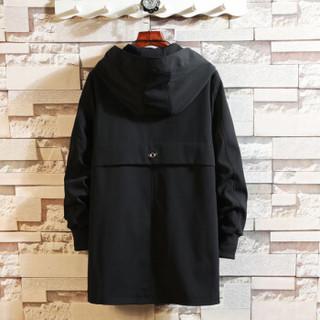 金盾(KIN DON)风衣 2019新款男士时尚简约绣花连帽中长款风衣401-F728黑色XL
