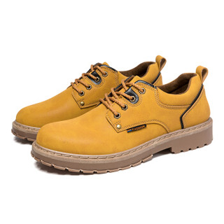 cele 策乐 工装鞋男 时尚休闲低帮系带男士韩版 黄棕色 42码 M8C2S88201