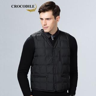 鳄鱼恤(CROCODILE)男士休闲马甲 2019年春季新款商务高品质无袖坎肩棉马甲 98787001 黑色 175