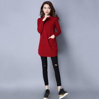 尚格帛 2018冬季新品女装毛衣双口袋套头针织衫韩版圆领加厚打底衫潮 HC1113-13GB 酒红 均码1