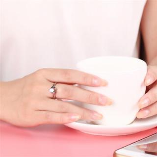 鸣钻国际 心仪 PT950铂金钻戒女 白金30分钻石戒指婚戒 求婚戒指 钻石对戒女款  F-G/SI 13号