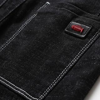 卡帝乐鳄鱼(CARTELO)牛仔裤  男士时尚潮流休闲刺绣弹力牛仔长裤A329-351黑色29