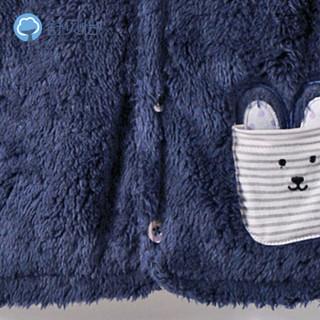 舒贝怡 宝宝马甲春秋款男童羊羔绒婴儿背心女马夹坎肩秋冬 D38018 蓝色 80cm