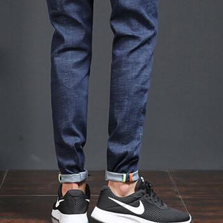 卡帝乐鳄鱼(CARTELO)牛仔裤 男士时尚潮流休闲百搭纯色牛仔长裤B337-9010蓝色33
