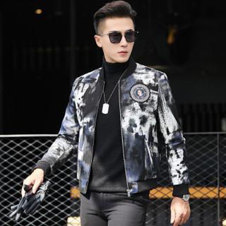 金盾(KIN DON)皮衣 男新款皮衣短款修身立领花夹克青年外套男 XH-1633J 黑色 XL