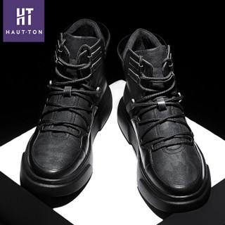 Haut Ton 皓顿 头层牛皮时尚休闲男鞋英伦短中高帮男靴子 XZ189 黑色加绒 42
