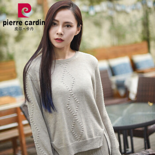 皮尔卡丹针织衫女 毛衣女套头圆领羊毛毛衣套衫花驼-XL HC83126