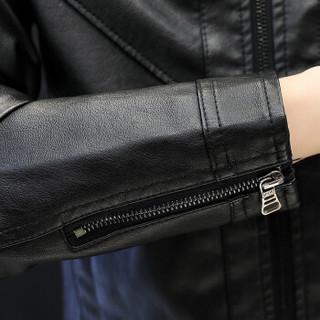 卡帝乐鳄鱼 (CARTELO) 皮夹克男士PU皮衣立领皮青年韩版修身男装外套 18169KE8617 棕色 L