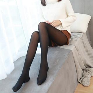 BANDALY 2018冬季新款女装新品打底裤女加绒加厚光腿双层假透肉打底裤 HC1105-05 300克黑色连脚 均码