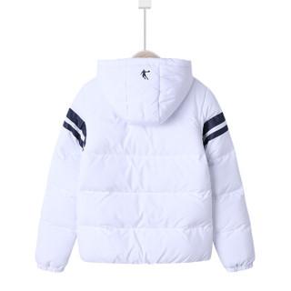 乔丹 QIAODAN QFM4483575 乔丹童装休闲棉服女童连帽棉衣厚外套儿童保暖上衣白色120CM