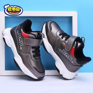 巴布豆童鞋男童新款运动鞋魔术贴防滑耐磨休闲棉鞋206585175 锖灰 36