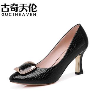 古奇天伦 女士 休闲百搭职业正装高跟皮鞋 8566 黑色 40