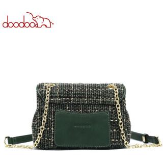 DOODOO 女包单肩包韩版时尚ck风呢子蜜蜂包百搭斜挎包 D8307绿色