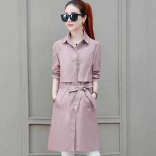 尚格帛 2019春季新品自营女装风衣欧洲站中长款韩版个子矮外套休闲外衣 HZ3005-2255GB 粉色 XL