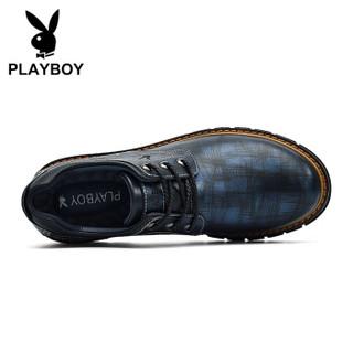 PLAYBOY 花花公子 英伦时尚商务休闲皮鞋男低帮防滑耐磨 DS85162 深蓝 40