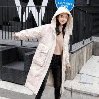BANDALY 2018冬季新款女装新品棉服纯色连帽拉链长袖加厚中长款直筒 yzYSPSM8070 蓝色 XXL