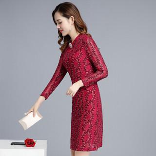 欧偲麦 连衣裙长袖款春秋季款2018新款碎花民族风时尚女装潮气质长裙子修身 LTT-H310 红色 XL