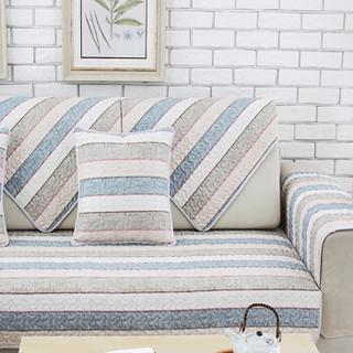 青苇 沙发垫坐垫沙发套 布艺沙发罩 四季防滑 简约条纹 70*180cm 1片装