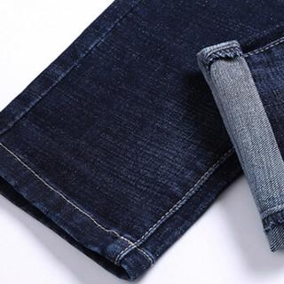 猫人(MiiOW)牛仔裤2019春季新款男士潮流青年时尚休闲百搭牛仔长裤子A329-359深蓝色33