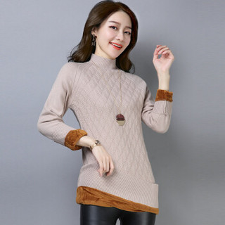 尚格帛 2018冬季新品女装毛衣女修身半高领针织衫中长款加绒加厚毛衣 LLFYYMM11803GB 黑色 3XL