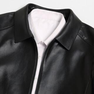 凯撒 KAISER 皮衣春季新款男士商务翻领绵羊皮皮衣单皮两面穿男式外套 黑色 190/104A