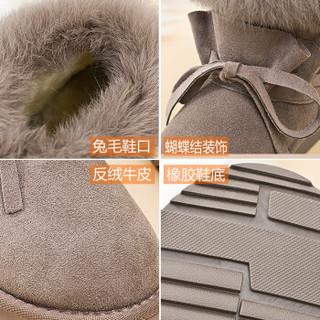 ZGR 雪地靴女短筒潮韩版学生百搭平底保暖厚棉鞋 8949 蘑菇色 36