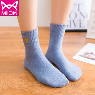 猫人(MiiOW) 袜子女中筒袜女士爱心刺绣日系休闲百搭学院风棉袜子5双礼盒装 混色均码