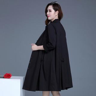 欧偲麦 风衣女中长款女士外套女2018春秋季新款韩版百搭时尚修身个性 HYX-TD18080 黑色 XL