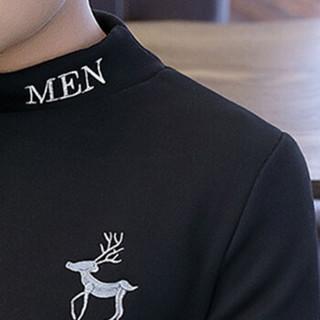 金盾(KIN DON)T恤  新款男士半高领加绒加厚打底T恤QT5015-301黑色XL