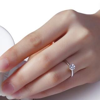 花好玉缘 六爪皇冠 白18k金钻戒女 结婚求婚钻石戒指 情侣对戒女款 生日礼物 10号