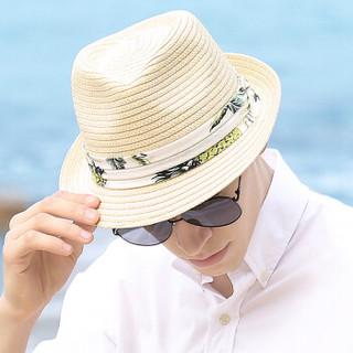 帝卡简嘉遮阳帽男士清爽夏日遮阳草帽时尚布带装饰太阳帽 SM008101 本色 57CM