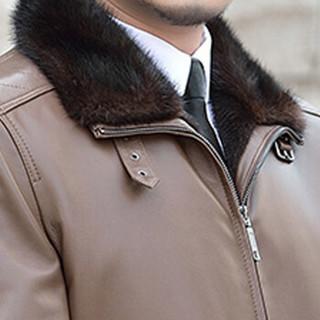 金盾(KIN DON)绵羊皮衣 新品男士翻领水貂皮衣外套5017-1627深棕色XL