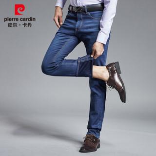 皮尔卡丹 pierre cardin 牛仔裤男2018秋冬新款加绒弹力男裤纯色简约百搭裤子P1833 蓝色 33