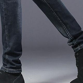 卡帝乐鳄鱼(CARTELO)牛仔裤  男士时尚潮流休闲百搭修身牛仔长裤QT1012-1033黑色27