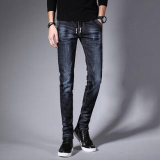 卡帝乐鳄鱼(CARTELO)牛仔裤  男士潮流休闲纯色系带弹力牛仔长裤A329-360深蓝色34