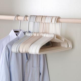 良然 护领衣架加厚无痕防滑晾衣架 杏色 10只装