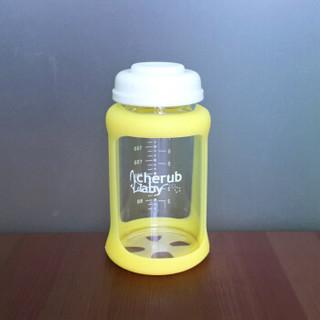 澳洲CherubBaby趣乐贝比吸管杯 吸管奶瓶 儿童水杯 婴幼儿宝宝学饮训练杯 防摔防漏感温变色重力球宽口径黄色